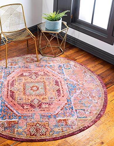 Unique Loom Austin Collection Contemporary Traditional Vibrant Peach Round Rug (6' 0 x 6' 0)