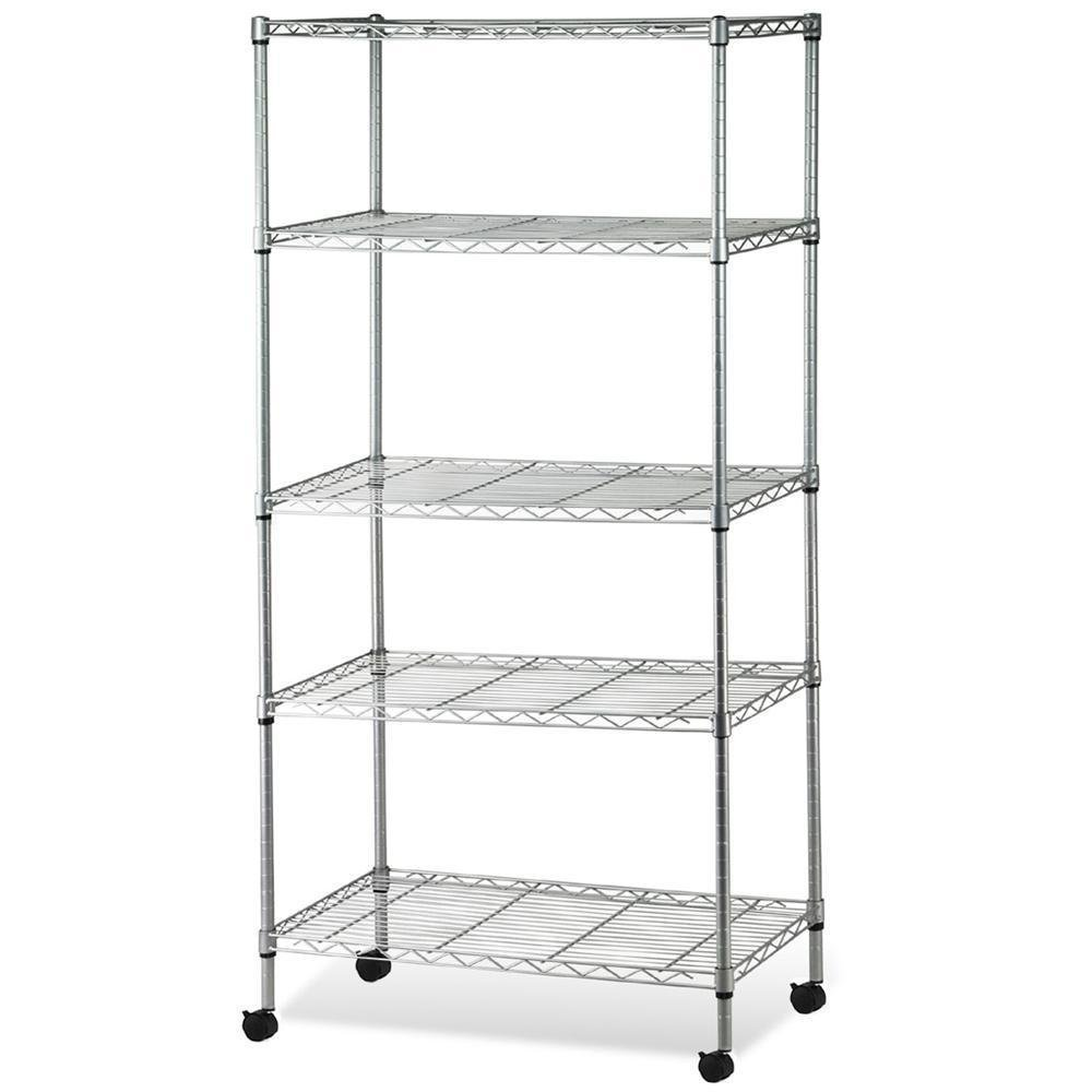 Z ZTDM 5-Tier Steel Wire Shelving /w Wheels,Standing Shelving Units,Garage Shelving System Storage Rack Decorative,Metal