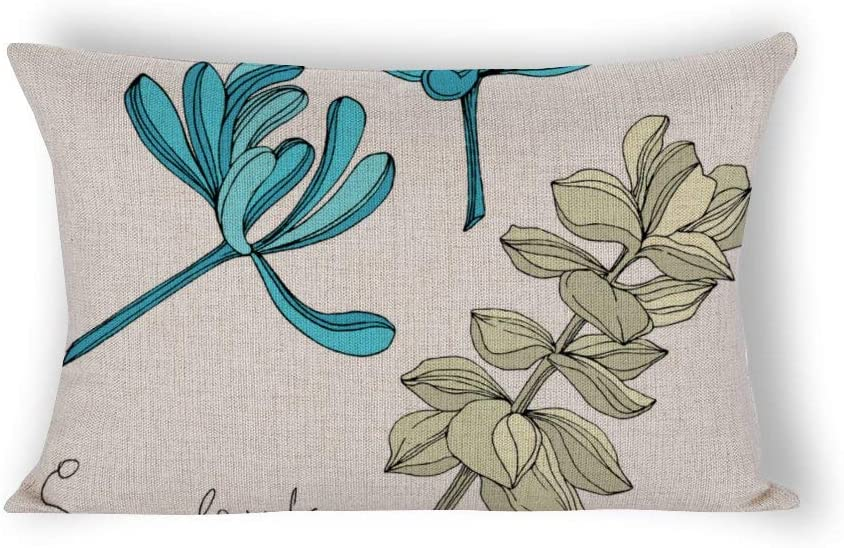 Succulent Floral Botanical Flower Engraved Cotton Linen Rectangle Throw Pillow Covers 14 x 24 Home Decor Lumbar Pillow Covers for Birthday Christmas Thanksgiving Gifts