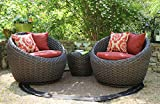 AE Outdoor DPS101170 3 Piece Corona Swivel Seating Set with Sunbrella Fabric