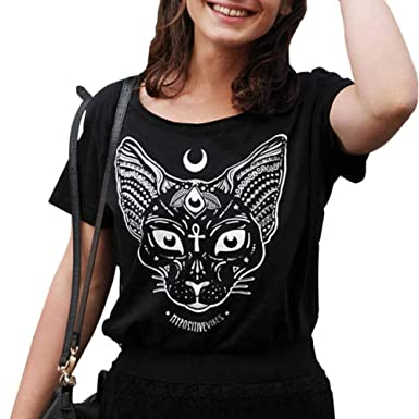 Grea Punk Gato gótico Cabeza Luna Camisetas Impresas Negro ...