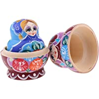 BAOBLADE 10 Pieces High Quality Wood Flower Printed Russian Nesting Dolls Babushka Matryoshka Gift Home Display Colorful