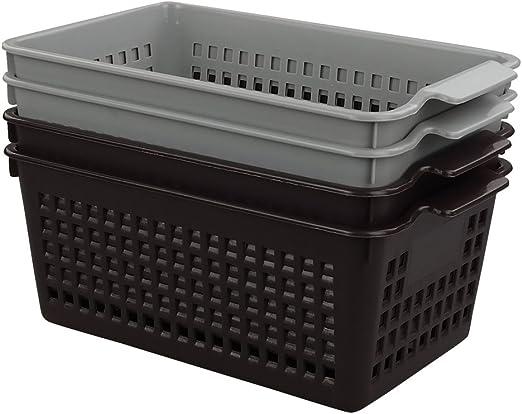 Doryh Small Plastic Storage Basket 4-Pack