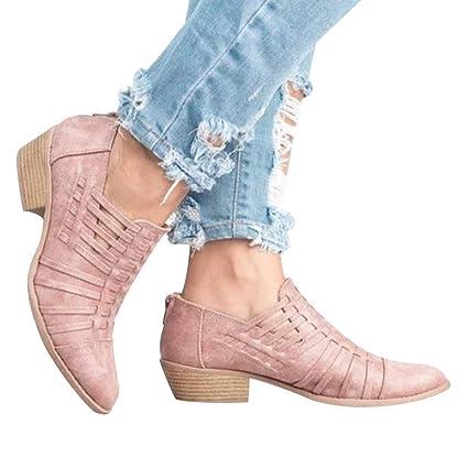 Qiusa Zapatos de cuña para Mujeres Botas con Punta Estrecha - Botines de Color Puro -