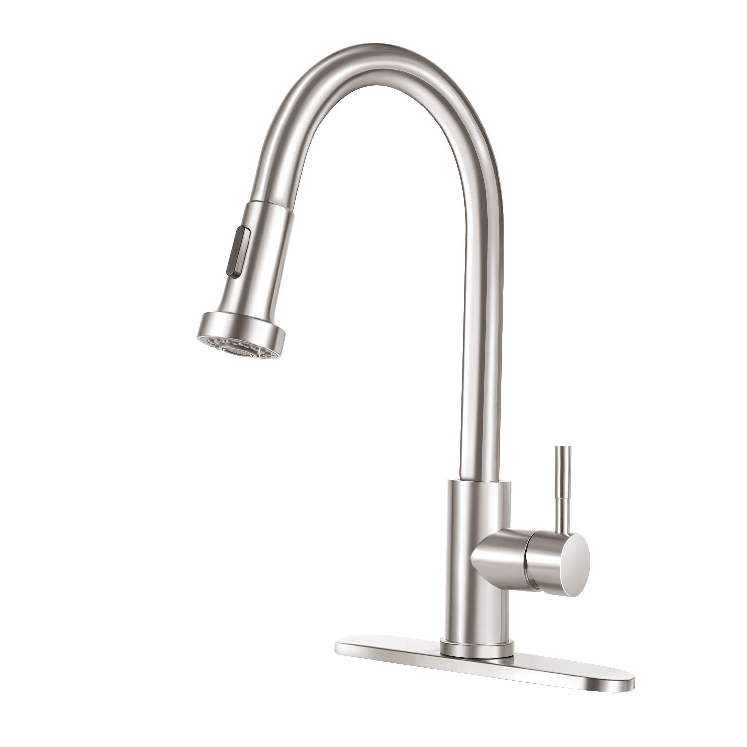 Stainless Kitchen Faucet with Pull Down Sprayer COOLWEST Single Handle Commercial Sink Faucets 16 Inch Dual Function Pull Out Kitchen Faucet with Deck Plate