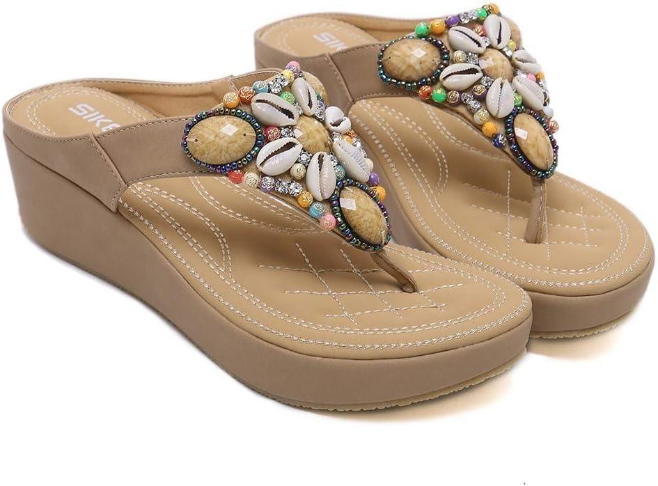 Straon - Sandalias de Verano para Mujer, con cuña de Perlas y ...