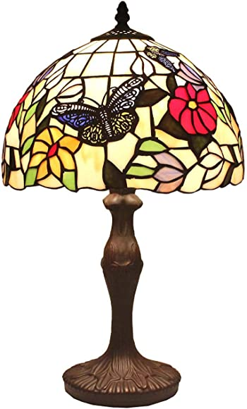 BIEYE L11407 Butterfly Tiffany Style Stained Glass Table Lamp Night Light