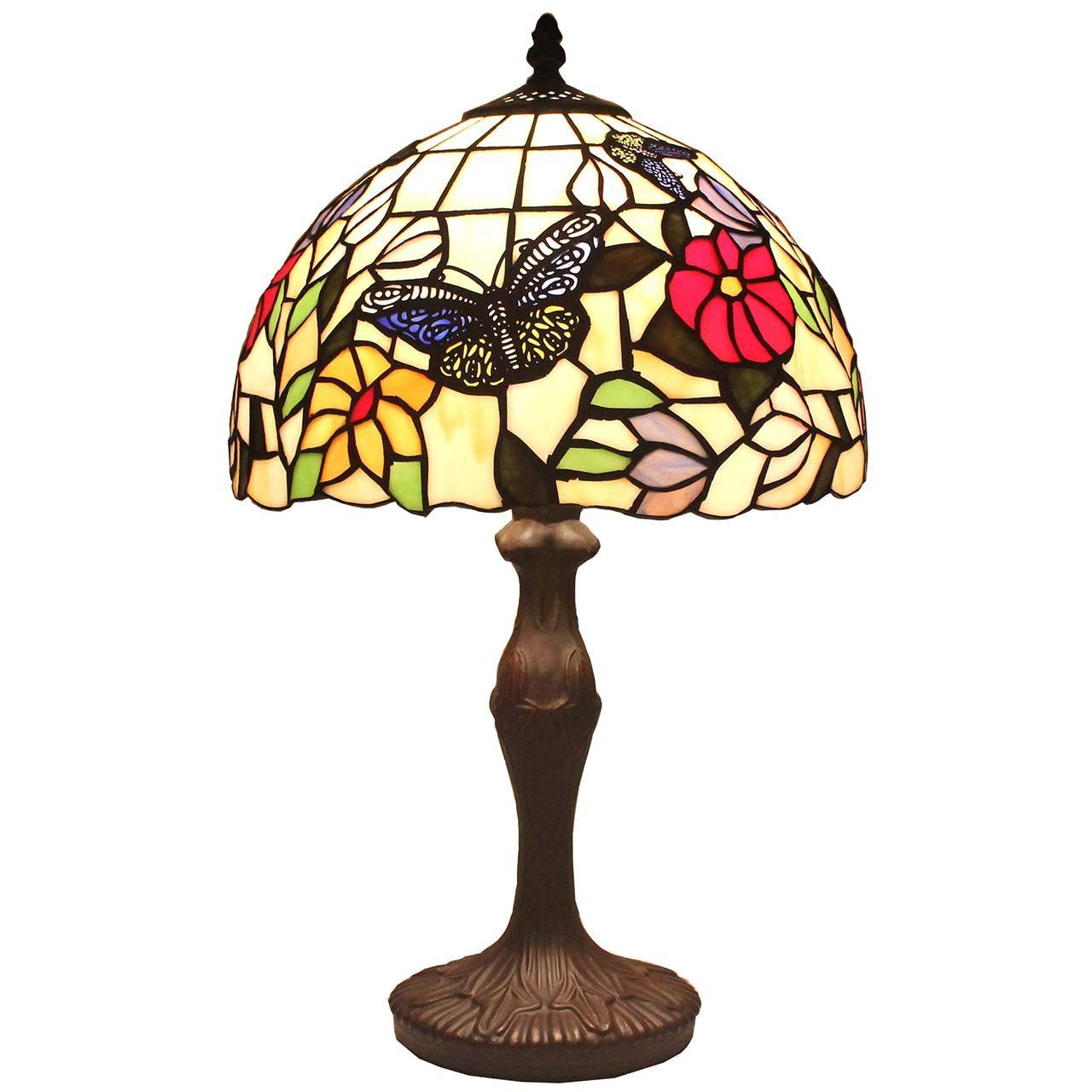 BIEYE L11407 Butterfly Tiffany Style Stained Glass Table Lamp Night Light with 12 inch Wide Handmade Lampshade for Coffee Table Bedside Bedroom Living Room, 18 inch Tall