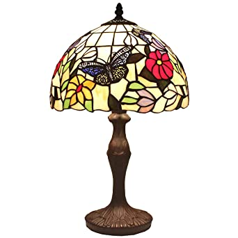 Bieye L11407 12 Inch Butterfly Tiffany Style Stained Glass Table