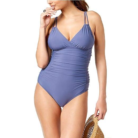 13bb0ee332 Calvin Klein Liquid Shirred Tummy-Control One-Piece Swimsuit Blue ...