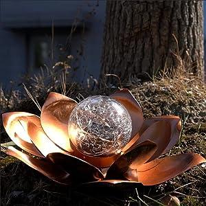 Solar Lights Outdoor Decorative Garden Decor Patio Amber Crackle Globe Glass Lotus Decoration,Waterproof Brown Metal Flower Light for Lawn,Walkway,Tabletop,Ground