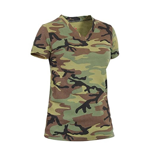 26f45c6e1f03 Amazon.com: Rothco Womens Long Length V-Neck Camouflage T-Shirt ...