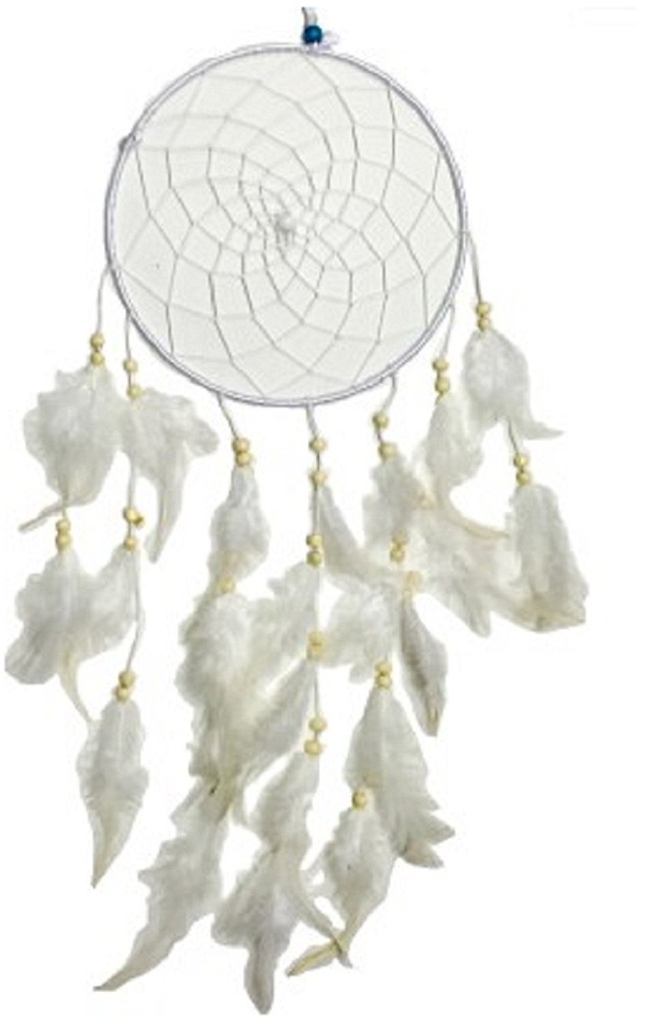 Starnk Dream Catcher Handmade Traditional White Colour with White Stones/Round Circles with Feathers Beads for Home Bedroom Decor, Car, Wall Hanging Ornament