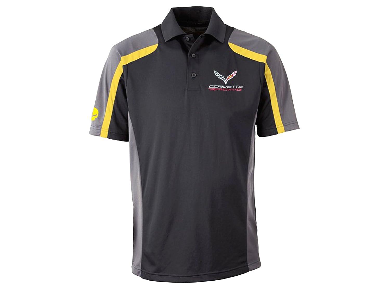 Gray and Yellow Corvette Racing Polo Black