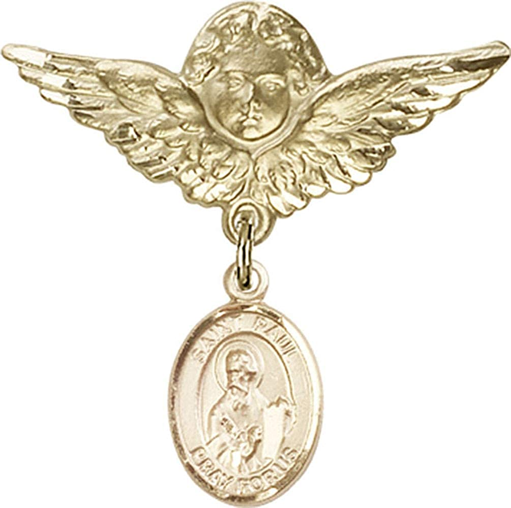 Gold Filled Baby Badge with St Paul The Apostle Charm and Angel with Wings Badge Pin Made in USA Jewels Obsession Baby Badge with St Paul The Apostle Charm and Angel with Wings Badge Pin