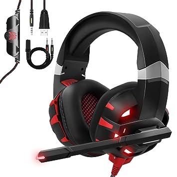 Casque Gaming Ps4 Onikuma Anti Bruit Micro Casque Gamer Avec Rouge