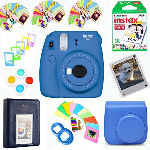 Fujifilm Instax Mini 9 Film Camera (Cobalt Blue) + Film Pack(10 Shots) + Photix Pleather Case + Filters + Selfie Lens + Album + Frames & Stick-on Frames Exclusive Instax Design Bundle