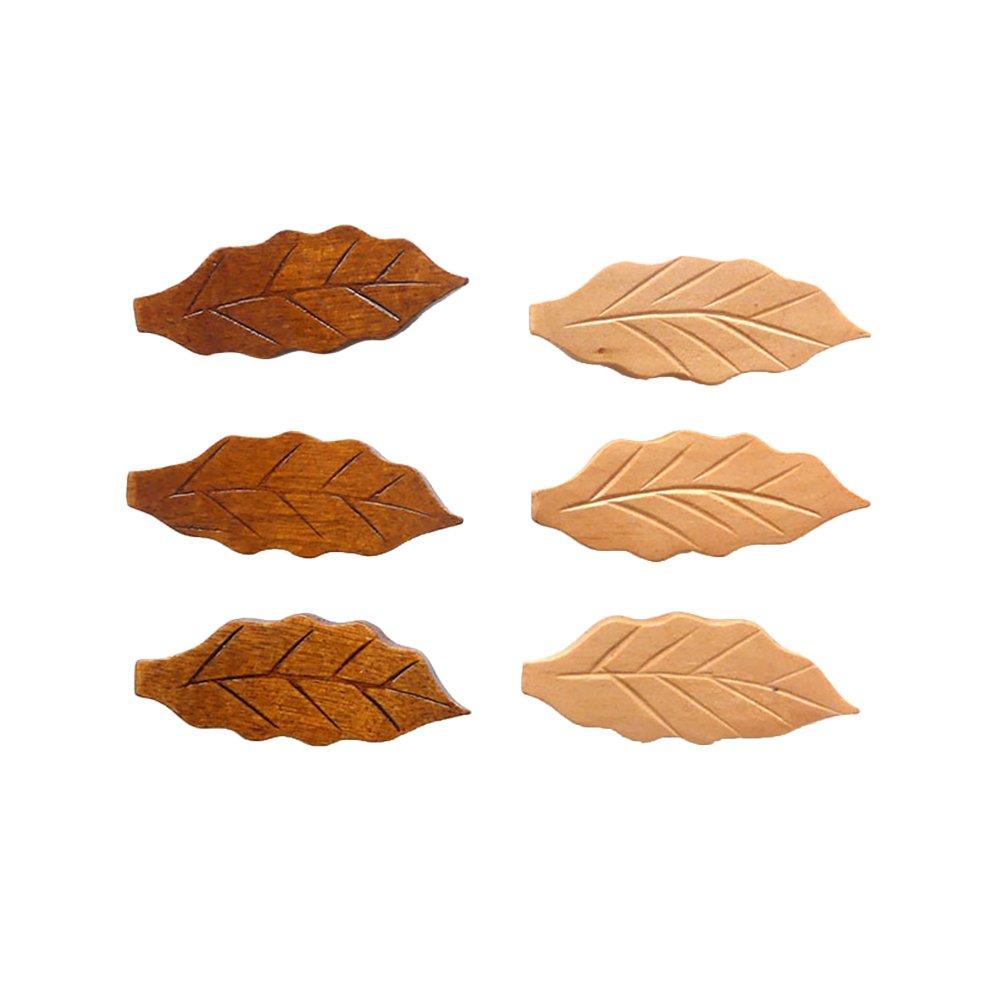 BESTONZON Set di 6 Bacchette di Forma Foglia di Legno Naturale Cestini resti Cucchiaio forchetta Titolare di Posate per Coltello