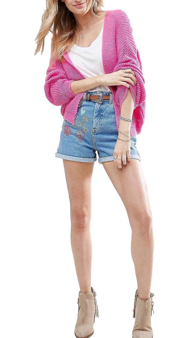 ASOS Mujer Rosa mullido Canalé Cardigan Abierto Al Frente - Rosa, 14: Amazon.es: Ropa y accesorios