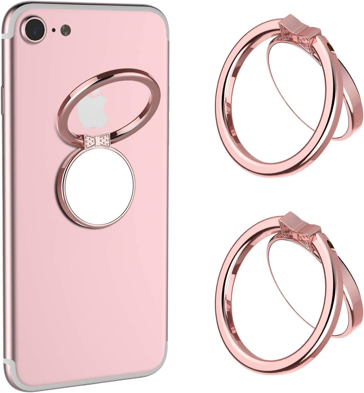 Gold Rose Gold Rose Gold Cell Phone Finger Ring Holder Grip Stand Custom Kickstand 360/° Rotation Metal Ring Grip for Magnetic Car Mount Compatible with All Smartphones Black Silver