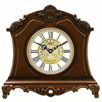 Relojes de mesa para la Sala de Estar Decoración Dormitorio Reloj de Escritorio Vintage Funciona con batería Analógico Sin tictac Números Romanos ...