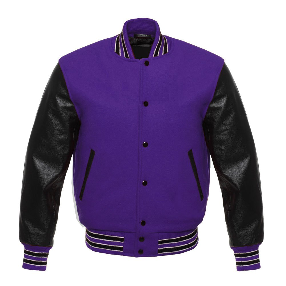 1f9ef65b8 Letterman Varsity Jacket Black Leather Sleeves Three Colors Stips 11 Colors  Wool at Amazon Men's Clothing store: