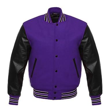 0348c91b4 Letterman Varsity Jacket Black Leather Sleeves Three Colors Stips 11 Colors  Wool (Purple, GS