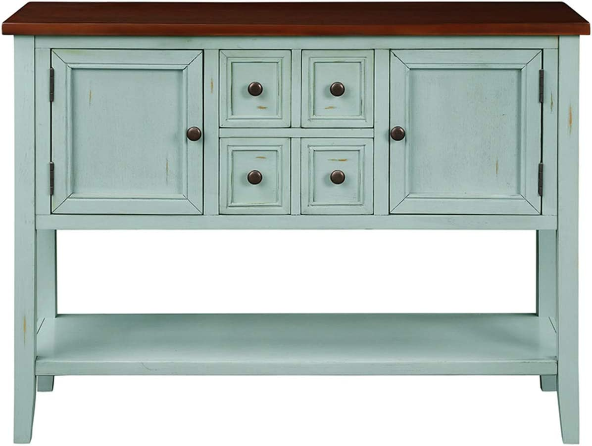 Buffet Sideboard Console Table with Bottom Shelf, Blue
