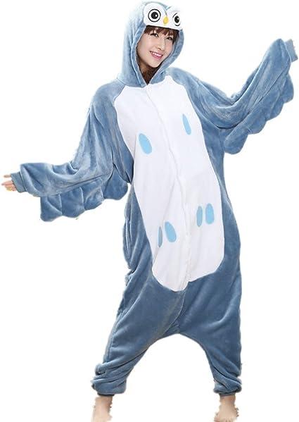 Pijama o disfraz de cuerpo entero de unicornio hecho de forro polar para niños y adultos de Colourfulworld, búho, large