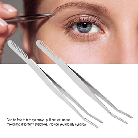 Amazon.com: Anself 2Pcs Double Headed Eyebrow Tweezers Stainless Steel With Eyebrow Comb Eyelash Removal Makeup Tool: Beauty