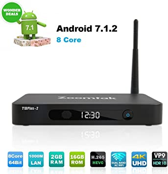 Zoomtak TV Box Octa Core 64Bit 2GB Ram 16GB ROM Android 7.1 Smart TV Box 2.4G/5.8G Wi-Fi Bluetooth 4.0 H.265 HD 4K -Carcasa de Aluminio: Amazon.es: Electrónica