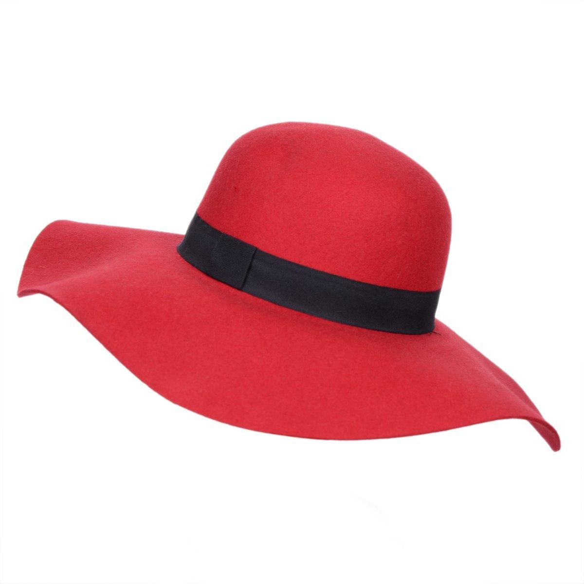675cf6d6893 Anycosy Women s Wide Brim Vintage Bowler Wool Felt Fedora Floppy Red ...