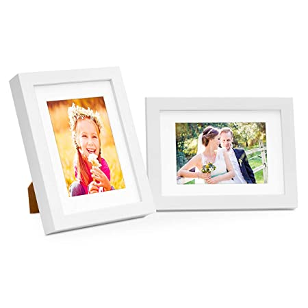 2 Piece Picture Frame Set Modern Deep Solid Wood White 10x15 cm with ...