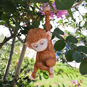 "Danmu 1Pc of Polyresin Hanging Animal Baby Monkey Statue 7 2/5"" H Indoor Outdoor Garden Statue for Garden Decor Yard Art Lawn Ornaments"