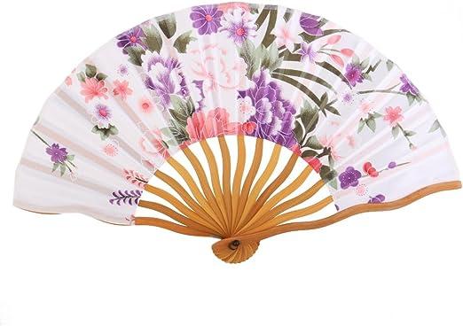 Hand Fan Handheld Fan I-MART Japanese Cherry Blossom Lace Bamboo Folding Fan
