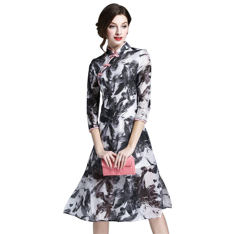 China Palaeowind Frühlings-Sommer-Frauen Kragen Druck Der Chinesischen Art Cheongsam Kleid Schlank