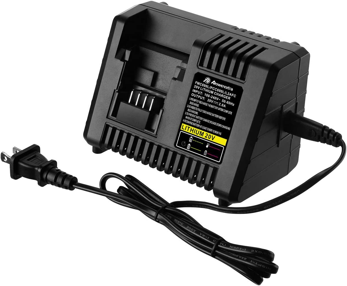 Powerextra 20V Lithium Battery Fast Charger BDCAC202B for Black and Decker 20V Lithium-ion Battery and Porter-Cable 20V Lithium-ion Battery LBXR20 LBXR2020 LB2X4020 PCC685L PCC680L PCC681L LST220