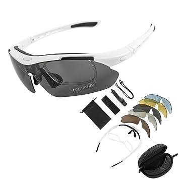 TK-Gruppe KT Suministro para Bicicleta Deportes Gafas de Sol Gafas de Ciclismo equitación conducción UV Protección Gafas de Sol polarizadas con 5 ...