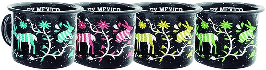 By Mexico Mini Pocillos de Peltre 85 mililitros modelo Tenangos Negro set de 4