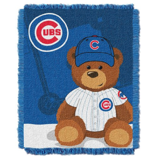Cubs Onesie Chicago (The Northwest Company MLB Chicago Cubs Field Bear Woven Jacquard Baby Throw, 36