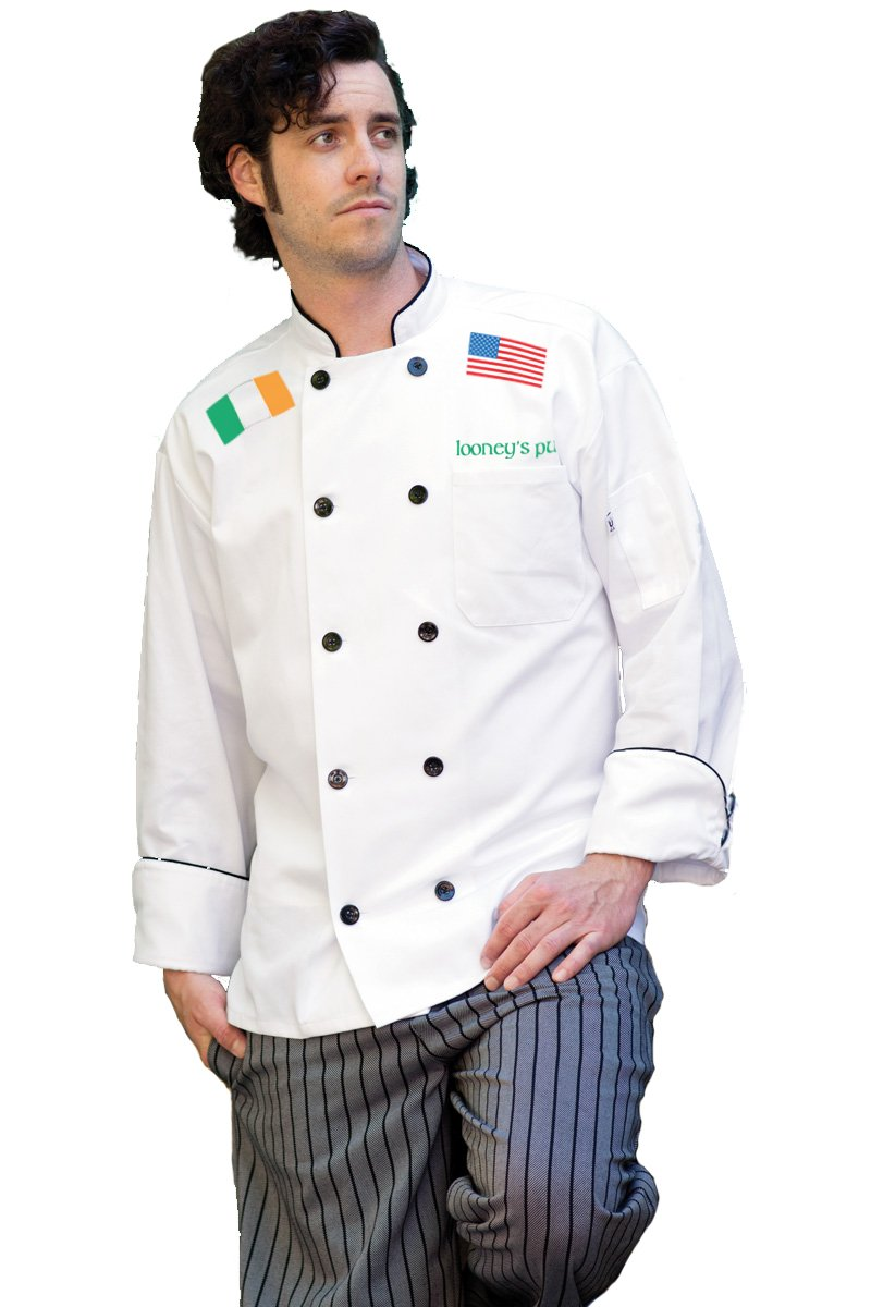 KAMAL OHAVA Custom Classic Chef Coat With Your Text and Flags, White, 5XL