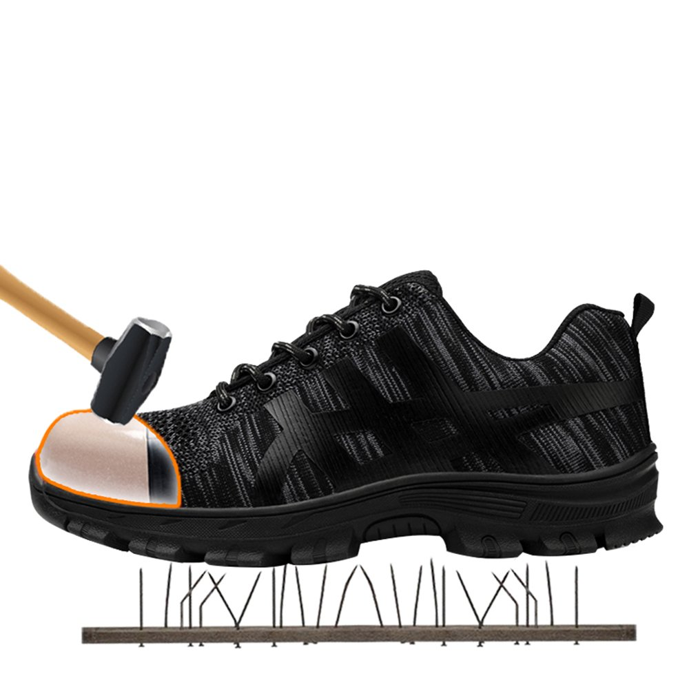 unisex steel toe work shoes industrial&construction shoes puncture proof safety shoes (man 11.5, ALL BLACK)