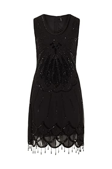 be7508aeb1e Ladies 1920 s Vintage Style Black Scoop Neck Sequin Beaded Party Cocktail  Dress ...