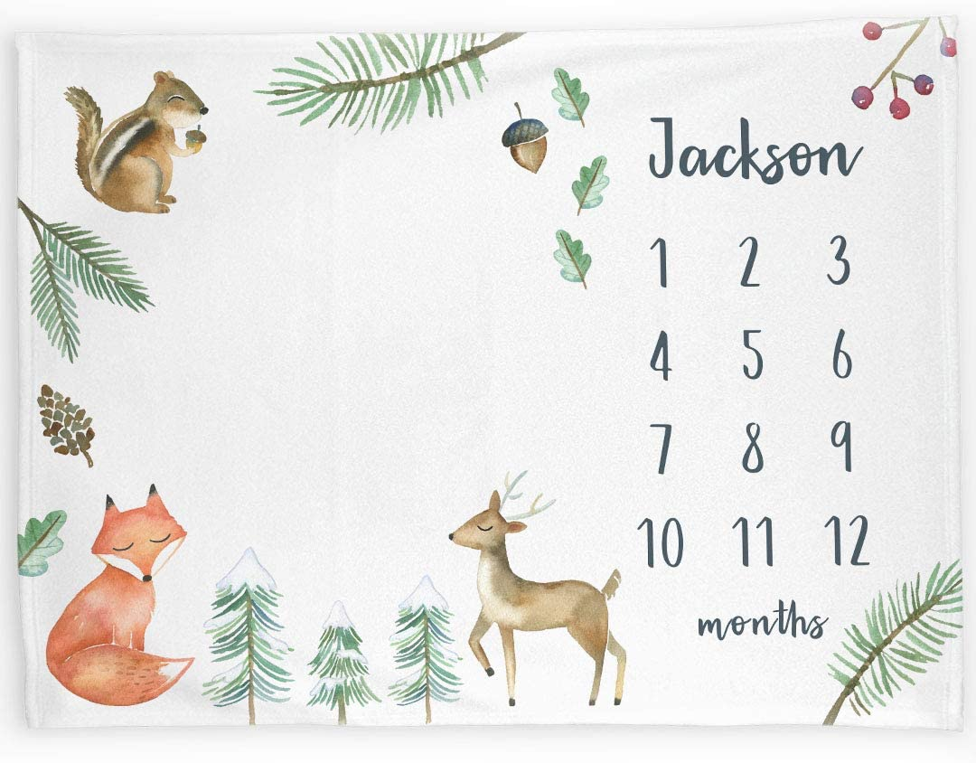 Woodland Fox Growth Chart Blanket Baby Shower Gift Personalized Milestone Blanket with Foxes Baby Photo Prop Baby Month Blanket