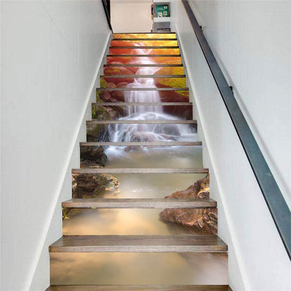 MISSSIXTY 13PCS/Set 3D Waterfall Landscape Self-Adhesive Stair Risers Stickers Vinyl Staircase Stickers Stairway Decal Mural Wallpaper Home Decor 39.3 Inch x7.08 Inch
