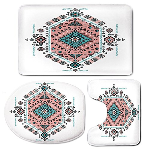 3 Piece Bath Mat Rug Set,Tribal-Decor,Bathroom Non-Slip Floor Mat,Mexican-Native-American-Ethnic-Symmetrical-Four-Corner-Art-Pattern,Pedestal Rug + Lid Toilet Cover + Bath Mat,Teal-and-Coral-Pink by iPrint
