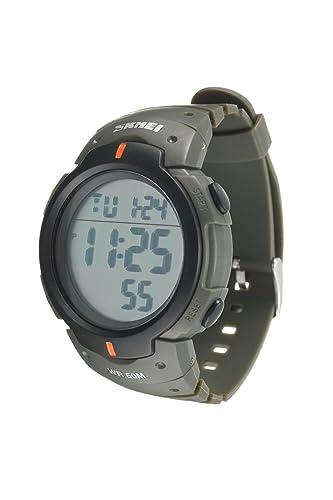 b95039756e35 Reloj de pulsera - SKMEI Reloj de pulsera de LED luz digital impermeable de  alarma y fecha regalo de deporte para hombre y mujer verde del ejercito  ...