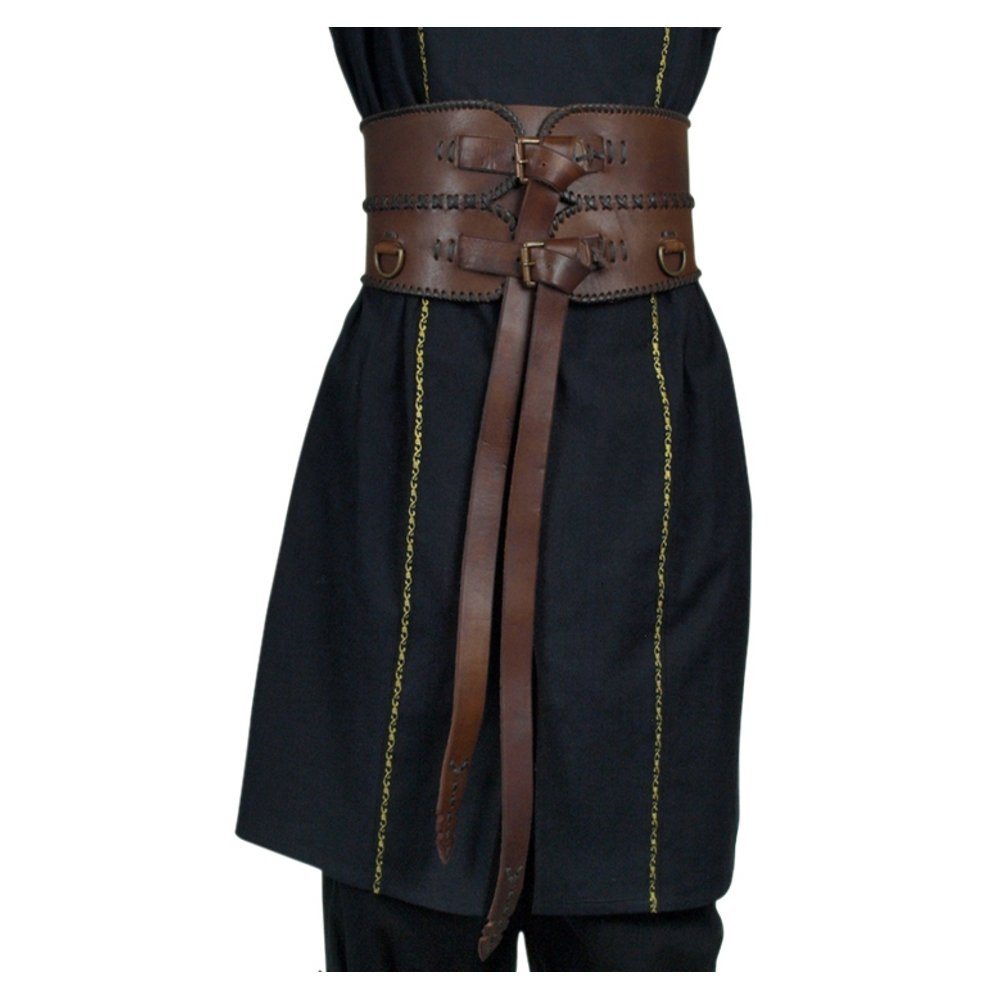Deluxe Adult Costumes - Men's Medieval Renaissance brown  leather broad belt by Armor Venue