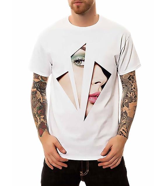 Camisetas Basicas Hombre Estampadas Divertidas Joven Moda Casual Manga Corta Cuello Redondo Ropa T-Shirt Camiseta: Amazon.es: Ropa y accesorios