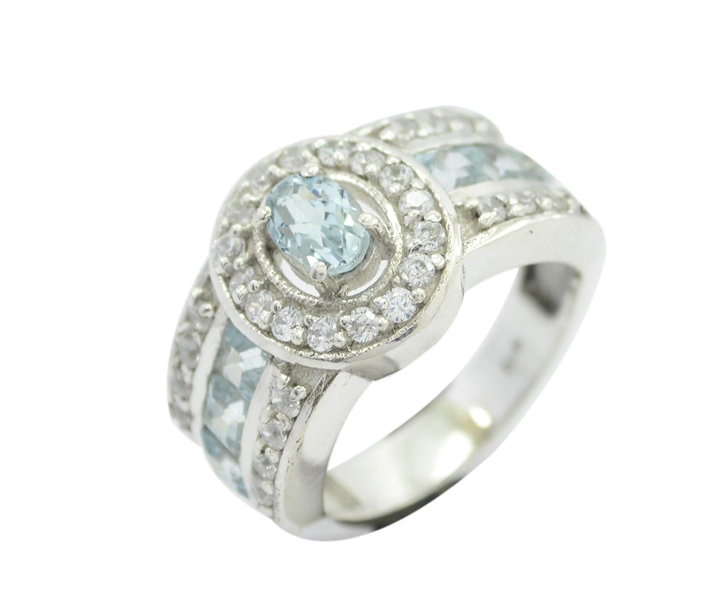 Blue Topaz Blue Gemstone Silver Ring Indian 925 Solid Sterling Silver Elegant Natural Blue Ring